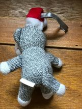 Small University of Wisconsin Gray & White Stuffed Sock Monkey w Santa Hat Chris image 4