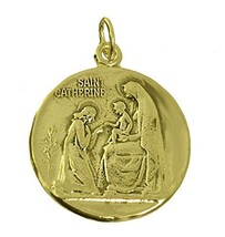 New St. Saint Catherine 24K Gold plated Charm Medal ADORING Infant Jesus Virgin - $60.79