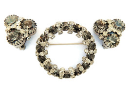 Vintage smokey gray rhinestone brooch pin clip on earrings demi set jewelry - $22.72
