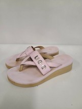 Ugg Australia Womans Size 7 Pink Luna Logo Slip On Flip Flop Sandal Plat... - $38.99