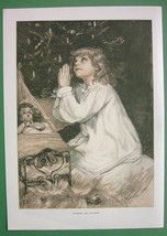 CHRISTMAS PRAYER Little Girl Tree Doll - VICTORIAN Era Original Engraving - $17.99