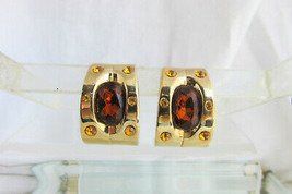 Vintage Topaz Citrine Rhinestone 1/2 Hoop Earrings Clips Gold Plate  - $13.50