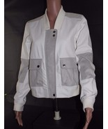 Calvin Klein Jeans women's faux suede white bomber clarity jacket zipper... - $36.98