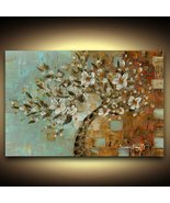 Blue Brown White Abstract Cherry Blossom Tree Modern Large fine art PRIN... - $245.00