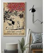 Vintage Dictionary Lived Happily Dog Yoga German, Art Prints Poster Home... - $25.59+
