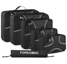 FOREGOER 6 Set Packing Cubes Travel Luggage Organizers with Laundry Bag.... - £18.76 GBP