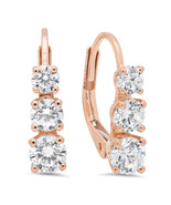 2.50 ct 3 Stone Cut Earrings Simulated Diamond 10K Rose Gold Past Presen... - $168.29