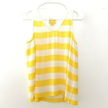 Anthropologie Maeve 6 Striped Pleated Sleeveless Top Yellow White - $14.39