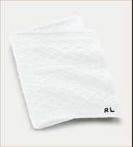 Ralph Lauren Highland Sweater Knit Throw Blanket White RL Emboridered $355 - $174.55