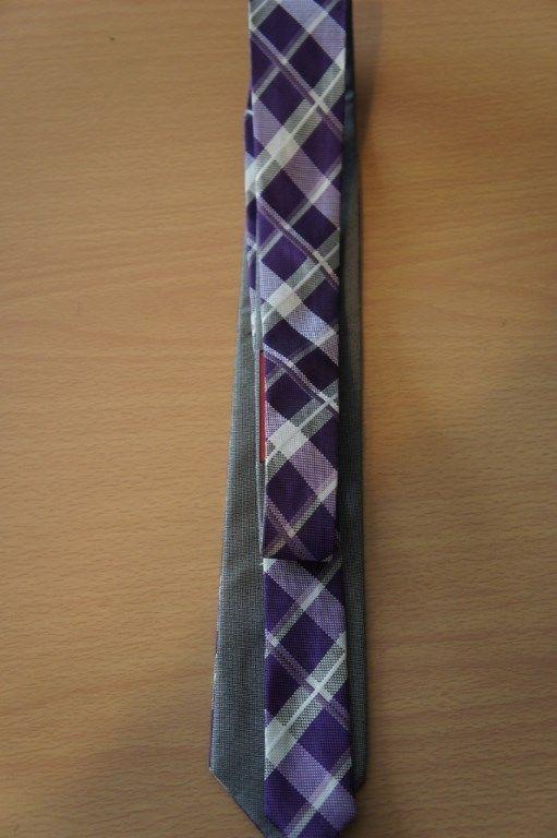 Alfani Men's Tie Purple Grey Plaid Grid Solid Reversible Classic Necktie