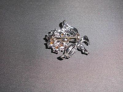 VTG Silver Tone Rose Flower Clear CZ Rhinestone Pin Brooch image 4