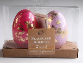 NEW Dozen Decorative Easter Table Pink/Purple Gold Foil Egg Place Card Holders image 2