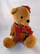 "Dakin Scottish Bear Plush Brown Tartan Hat Scarf 15"" 1984 Stuffed Animal - $13.60"