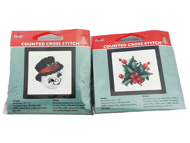 Plaid Counted Cross Stitch Kit With Frame, Set of 2