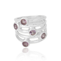 Amethyst Gemstone Solid 925 Sterling Silver Spinner Meditation Ring Jewelry - $58.09