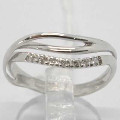 ANILLO DE ORO BLANCO 750 18 CT,VERETTA ONDULADO,3 FILE,DIAMANTES,MADE IN ITALY