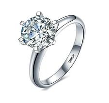 With Certificate Luxury 18K White Gold Ring Original 2.0ct Zirconia Diamond - $9.99