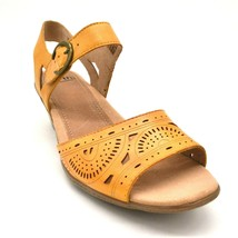 Earth Women Carson Westport Leather Wedge Slingback Sandals Yellow Size ... - $28.49