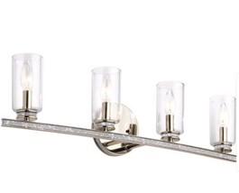 "Kichler Angelica 4-Light 30"" Cylinder Vanity Bathroom Lighting Nickel Rh... - €84,44 EUR"