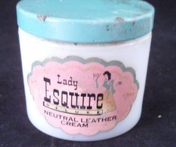 1950s Milk Glass Dresser Jar Lady Esquire Deluxe Neutral Leather Cream f... - $4.41
