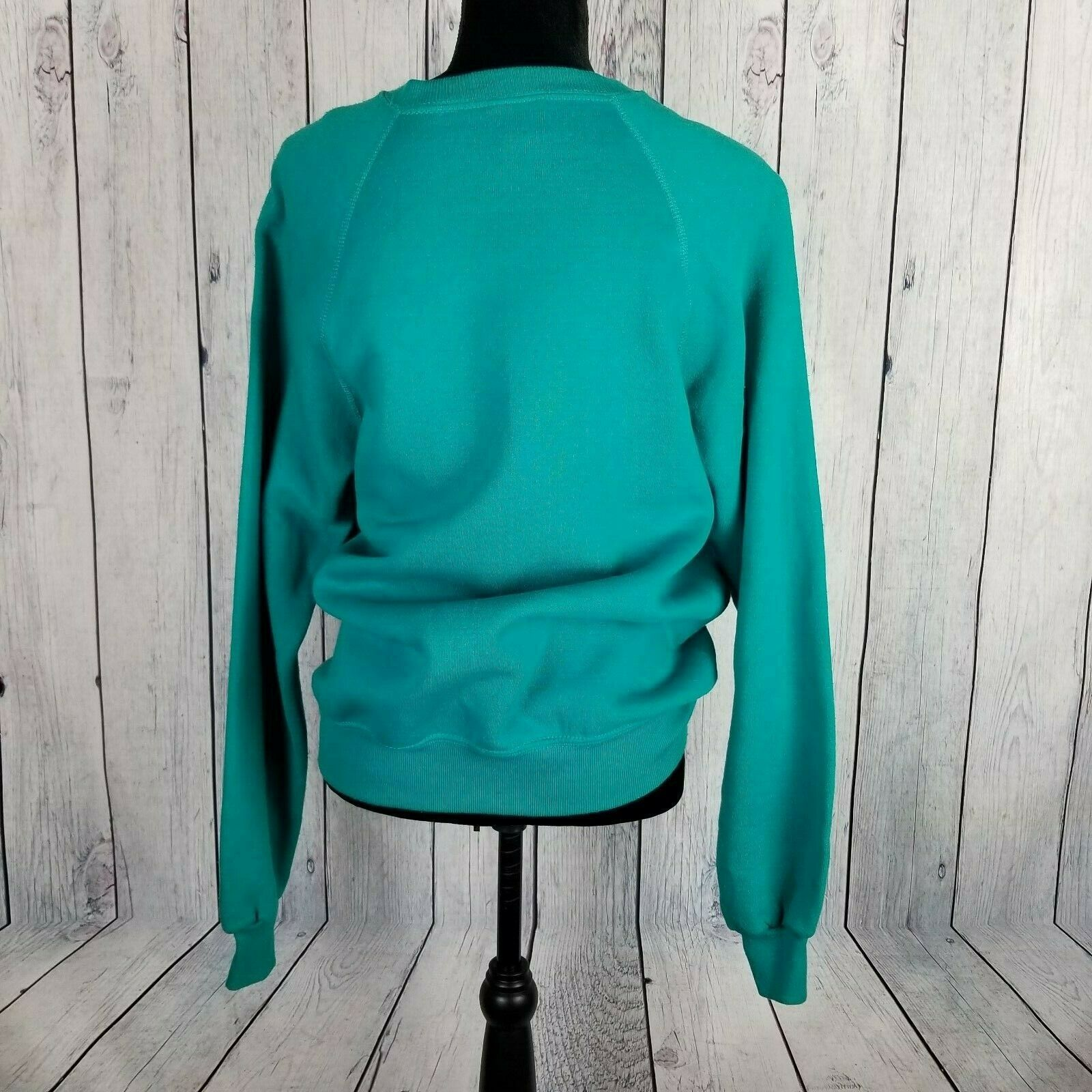 Sturdy Sweats By Lee Teal Textured Sweatshirt Large Vintage Lace Applique image 4