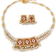 Indian Bridal Necklace Reversible GoldPlated Maroon Purple White Pearl Jewelry S - $14.95