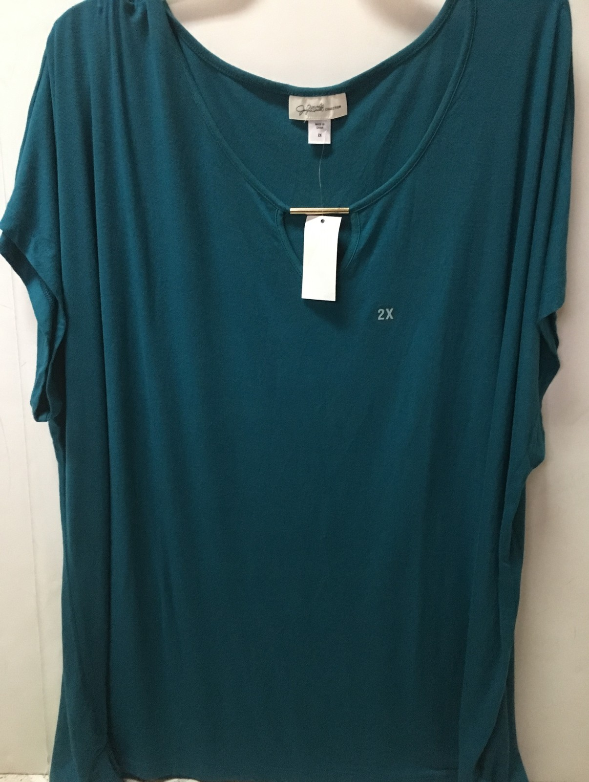 Jaclyn Smith Collections Tunic Blouse Sz 2X Short Sleeve Blue NWT