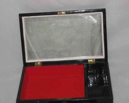 """Pretty Vintage 9 1/2"""" X 6"""" Lacquer Jewelry Box With Inlay Girls"""