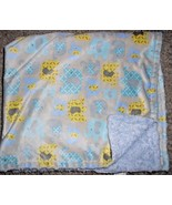 Blankets and Beyond Elephant Baby Blanket Grey Blue Yellow Furry - $24.73
