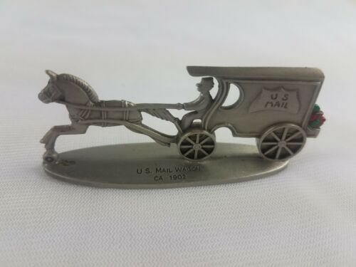 Hallmark Lot of 3 Pewter Steam Fire Engine U.S. Mail Wagon Open Topped Surrey image 6
