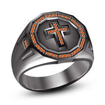 Round Orange Sapphire 14k Black Gold Plated 925 Sterling Silver Men's Cross Ring - $92.99