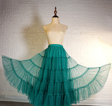 Women Emerald Green Sparkle Skirt Tiered Long Tulle Skirt Evening Maxi Skirt image 2