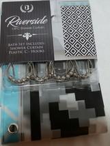Riverside Thirteen Piece Shower Curtain Turquoise Black White image 1