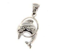 18K WHITE GOLD DOLPHIN JUMPS IN CIRCLE PENDANT CHARM 32 MM SMOOTH MADE I... - $184.00