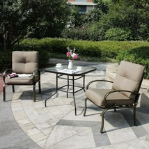 Outdoor 3 PC Garden Wrought Iron Furniture Patio Sectional Set Chairs w/... - $229.98+