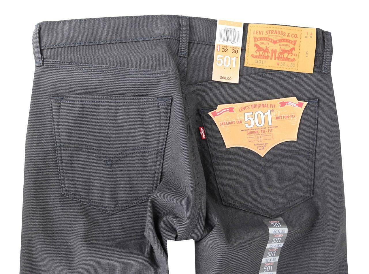 NEW LEVI'S 501 MEN'S ORIGINAL STRAIGHT LEG JEANS BUTTON FLY GRAY 501-1893