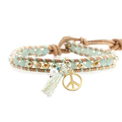 Great Gift for Girls Fashion Bracelet with Pendant Leather Cord Bracelet [Cyan]