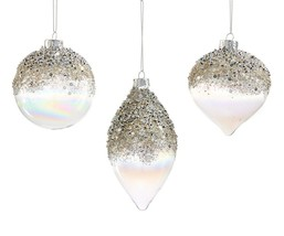 Set of 3 Christmas Tree Ornaments Iridescent Glass with Beads, Glitter & Sequins
