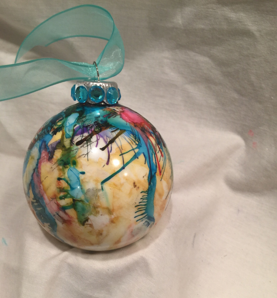 Hand Painted Drip Alcohol Ink Glass Christmas Ornament Pink Blue Yellow Rhinesto