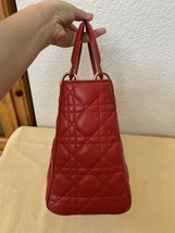 AUTH Christian Dior Lady Dior Medium RED Cannage Lambskin Tote Bag GHW image 4