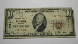 $10 1929 Detroit Michigan MI National Currency Bank Note Bill Ch. #10527... - $84.14