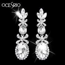 Luxury Silver Long Earring Stones Zirconia Rhinestone Green Earrings Wom... - $10.58