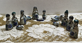 Vintage 12 Piece Set MEXICAN POTTERY Nativity Scene // Christmas Tonala Pottery - $30.00