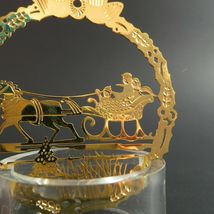 Vintage Sleigh Ride Christmas Ornament Hallmark Gold Metal Etched Embossed Scene image 4