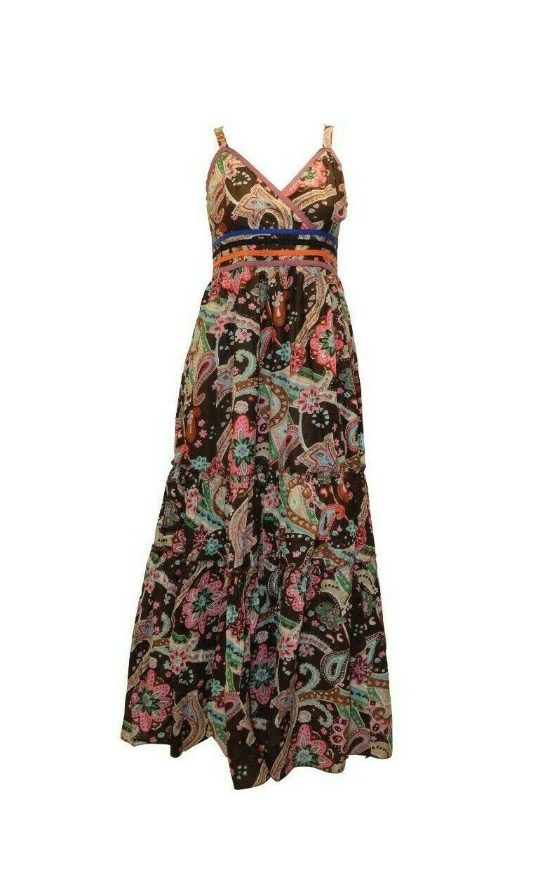 Primary image for 100% COTTON BOHO HIPPIE VINTAGE STYLE V-NECK CROSS OVER FLORAL MAXI DRESS P24B