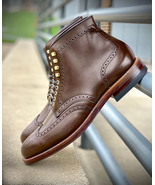 Handmade Men's Brown Ankle High Leather Wing Tip Brogue Boots, Long Dres... - $159.97+