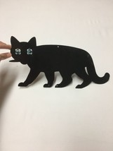 Vintage Black Metal Cat Cut Out With Cats Eye Blue Marbles Halloween Dec... - $48.38