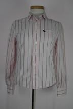 Abercrombie Pink and Blue Long Sleeve Button Down Shirt Muscle Sz Large - $7.90