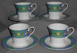 Set (4) Mikasa FRUIT MURAL PATTERN Cups and Saucers ULTIMA+ - $15.83