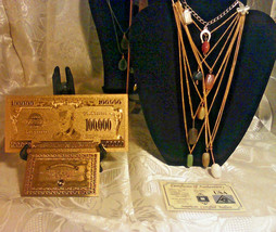 aUS SELLER~ 8Pc.GENUINE GEMSTONE Necklaces+GOLD$100K+CHARM Bracelet+SILV... - $17.52